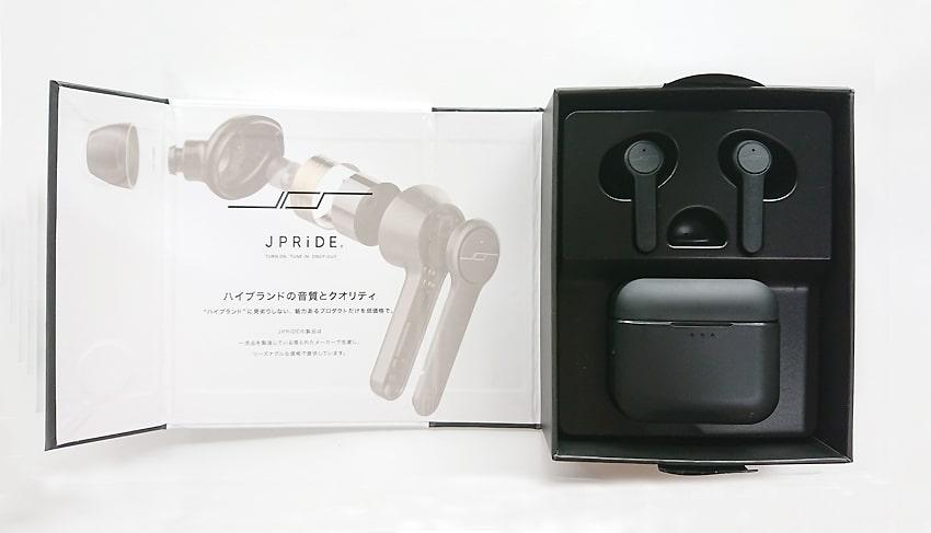 JPRiDE(ジェイピー・ライド)ワイヤレスイヤホンの梱包
