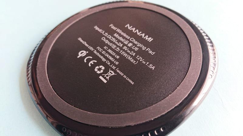 NANAMIワイヤレス急速充電器の本体の裏面
